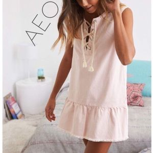 NWT AEO Aerie pink rope lace denim shift dress L